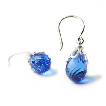 Blue Gemstone Droplet Earrings