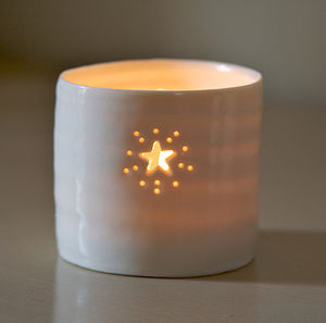 Porcelain Starburst Tea Light - christmas home