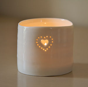 Porcelain Double Heart Tealight - ceramics