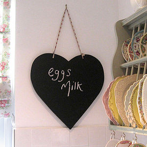 Heart Shaped Chalkboard - storage & organisers