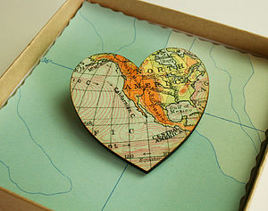 Bespoke Vintage Map Brooch - women's jewellery