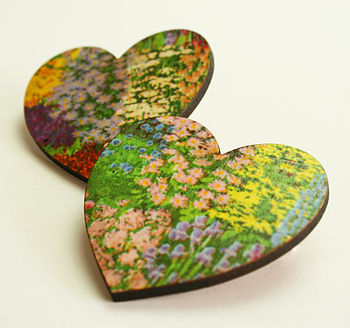 Vintage Flowers Heart Brooch