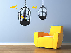 Bird Cages Wall Stickers - decorative accessories