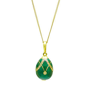 Green Horseshoe Enamel Egg Pendant - necklaces & pendants