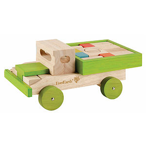 Wooden Push Along Truck And Blocks
