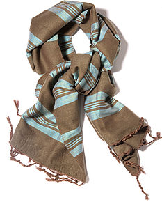 Handwoven Scarf Olive and Blue - pashminas & wraps