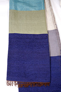 Handwoven Throw-Turquiose, , Grey - blankets & throws