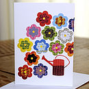 Gardening With Flowers And Watering Can Card