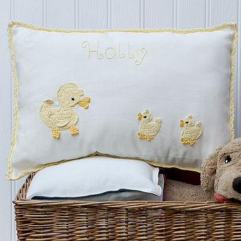 Personalised Yellow Ducks Big Cushion