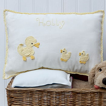Personalised Yellow Ducks Cushion