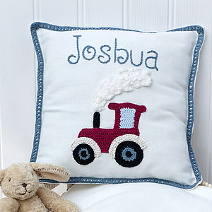 Personalised Red Tractor Cushion - cushions