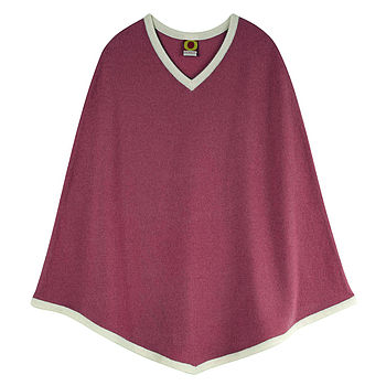 Girl's V-Neck Poncho - Raspberry