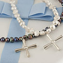 pearl and silver cross abbess necklace
