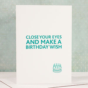 'Close Your Eyes' Letterpress Card