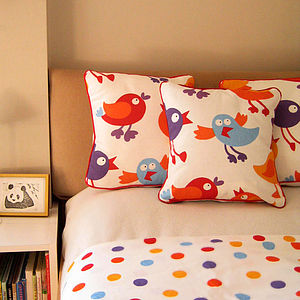 Birds Mini Scatter Cushion With Dotty Back