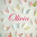 Personalised Paper Butterflies Picture Close Up - name in pink