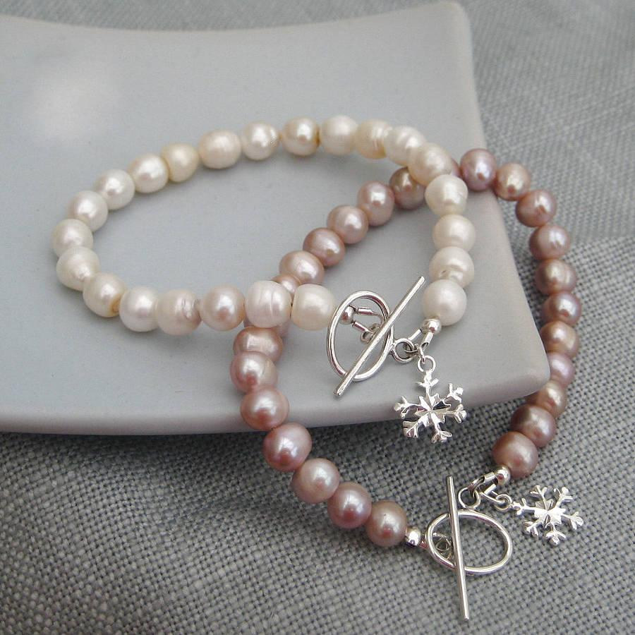 Freshwater Pearl Sterling Silver Snowflake Bracelet