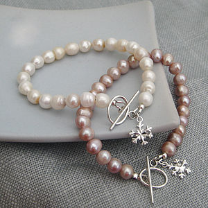 Freshwater Pearl Sterling Silver Snowflake Bracelet - wedding fashion