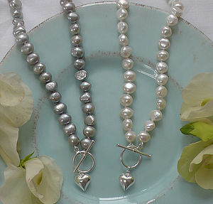 Freshwater Pearl Necklace with Puffed Silver Heart - necklaces & pendants