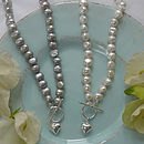Freshwater Pearl Necklace with Puffed Silver Heart