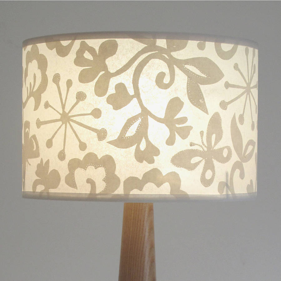 Butterfly wide drum lampshade by helen rawlinson drum lampshade butterfly cream aloadofball Choice Image