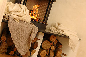 Cream Aran wool throw - throws, blankets & fabric