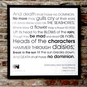 'Death Shall Have No Dominion' Framed Print - prints & art