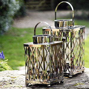 Nickel Lattice Lantern - lights & lanterns
