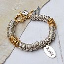 Personalised silver & gold rings bracelet single name charm