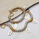 Personalised silver & gold rings bracelet three name & word charms