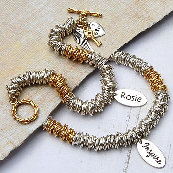 Personalised silver & gold rings bracelet main image