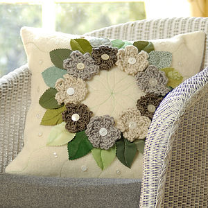 Cream Flower Wreath Blanket Cushion - cushions