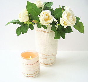 Hand-Felted Vase And Candle Cover - votives & tea light holders