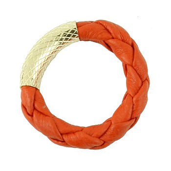 Coral Braided Leather Ring