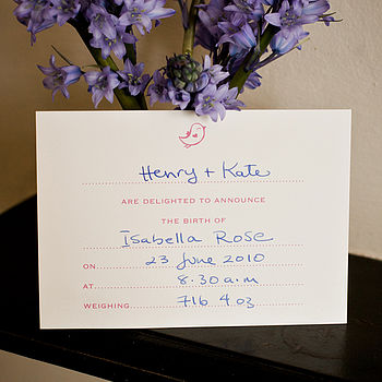 Motif Birth Announcement Cards