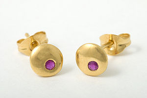 Moon Large Stud Earrings With Rubies - earrings