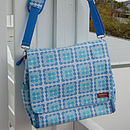 Aqua blue flower spot nappy bag outdoors white1