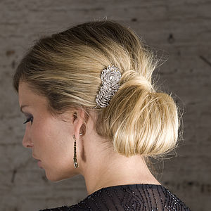 Carla Crystal Feather Hair Comb