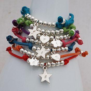Girls Personalised Silver Friendship Bracelet