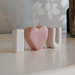 'I Heart U' Ceramic Letters - decorative letters