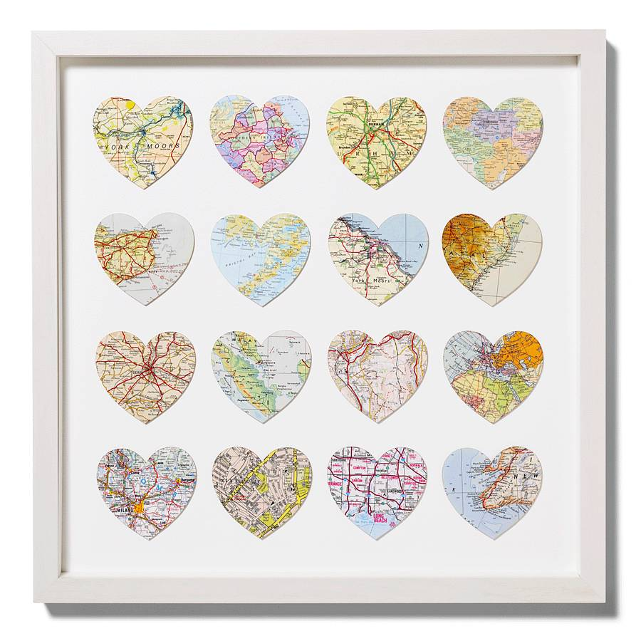 Sixteen Map Location Hearts Wedding Anniversary Print By