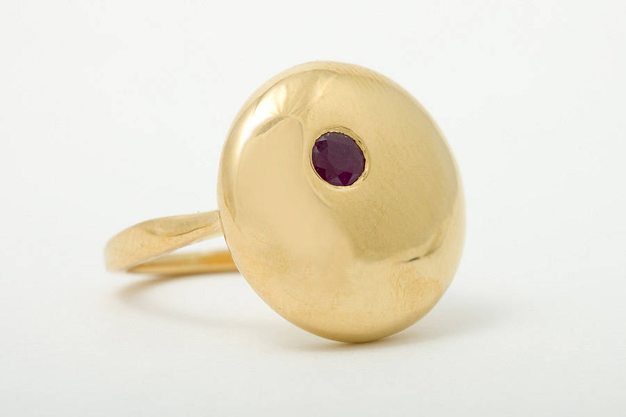 Moon Large Ring With Rubies