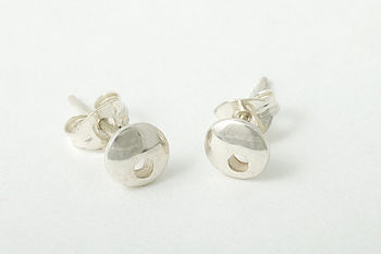 Moon Large Stud Earrings With Hole