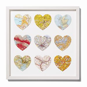 Bespoke Nine Heart Vintage Map - Large ♥ - prints & art