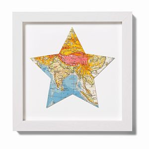 Map Location Star Print Gift 28cm - mixed media & collage