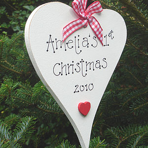 Personalised Christmas heart decoration - tree decorations