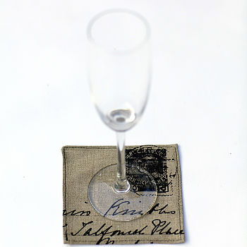 linen coaster with glass