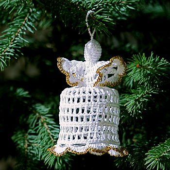 Hand Crocheted Angel with Gold Finish Christmas Decoration