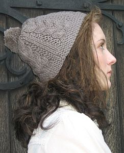 Handmade Cable Hat in Merino Wool - hats