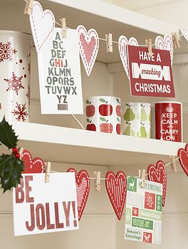 Nordic Heart Christmas Card Holder Garland